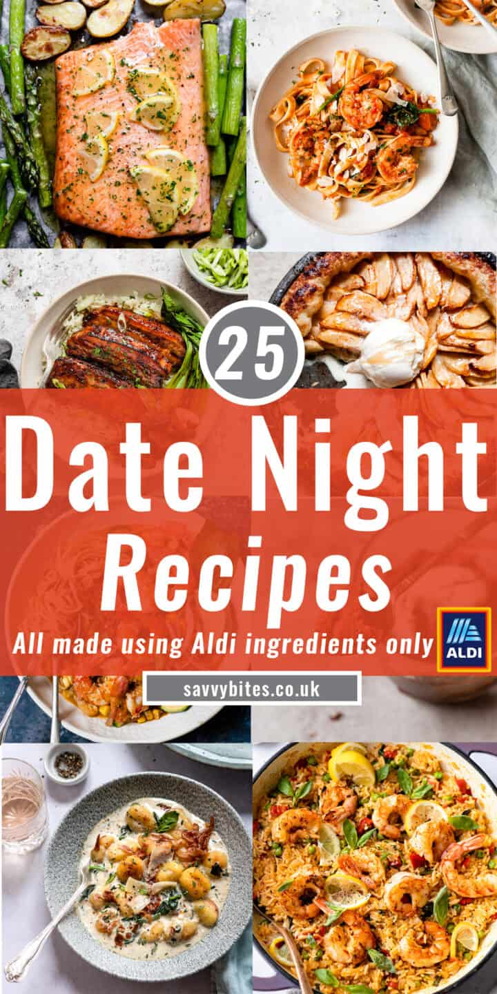 photos of date night recipes in a collage with text overlay.