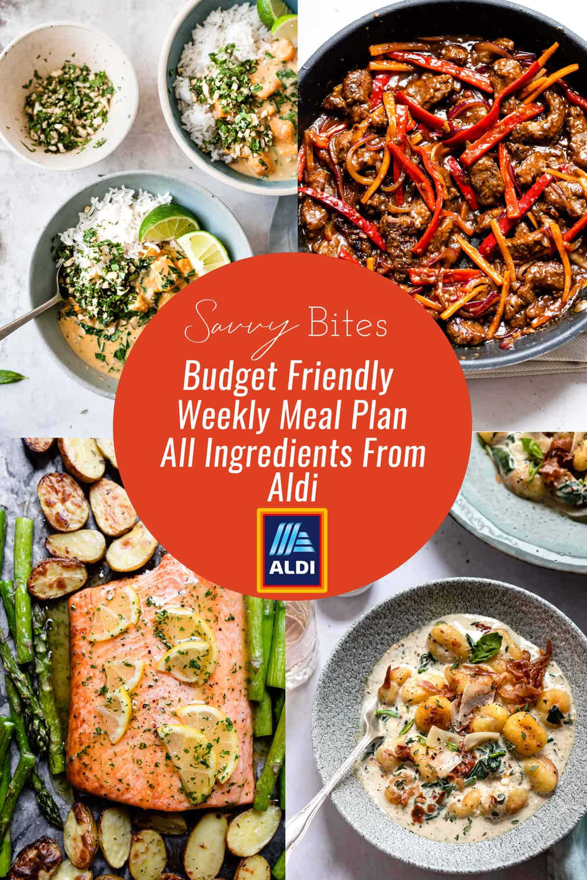 Aldi recipes budget meal plan with photo collage of recipes.