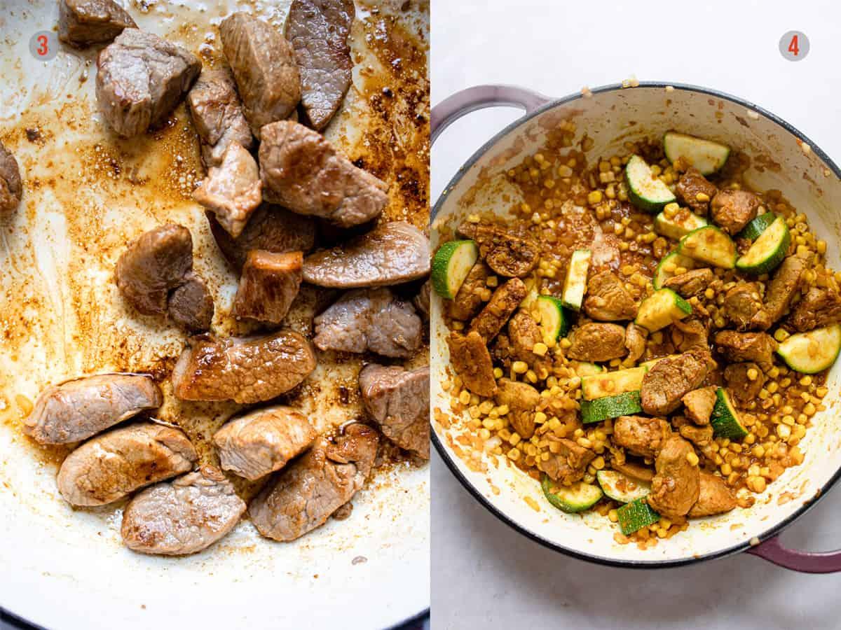 Aldi recipe pork curry cooking step 3 & 4