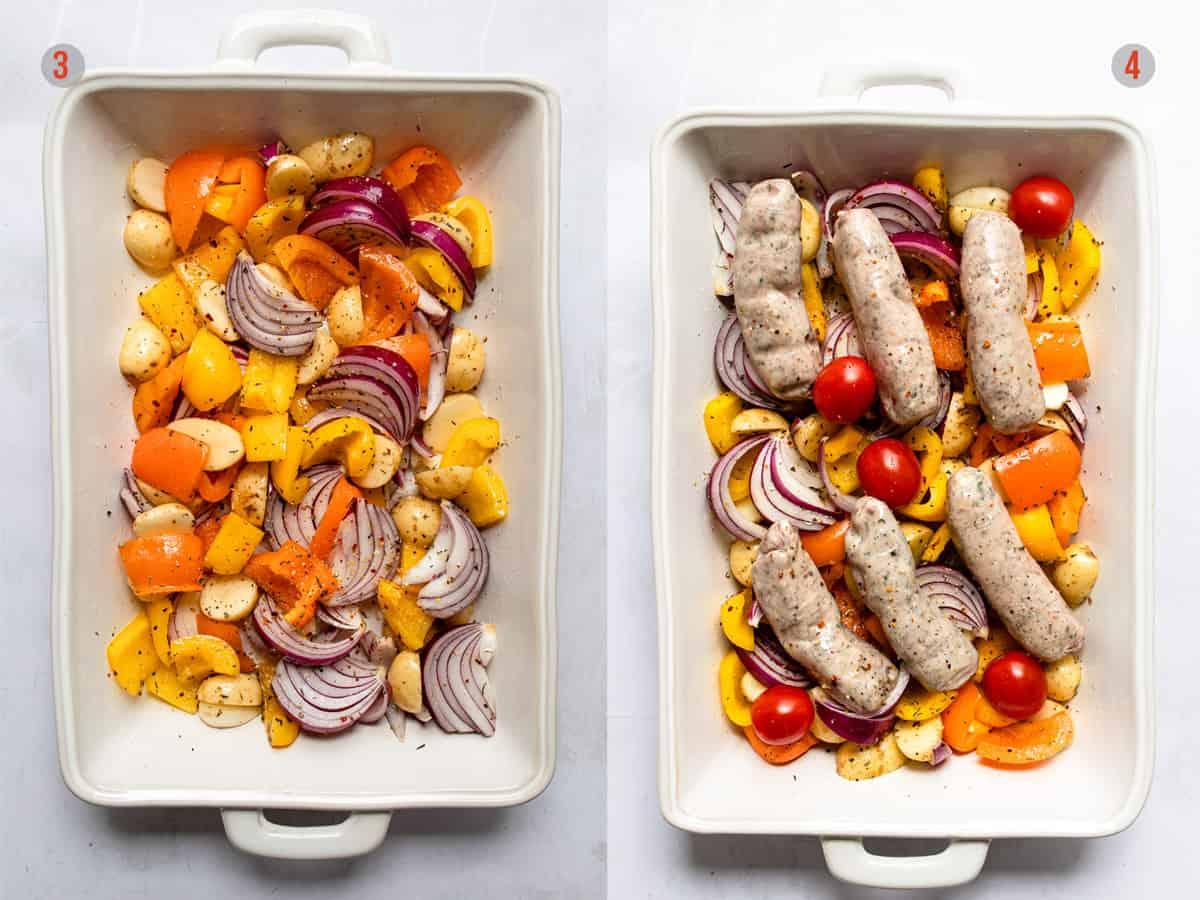 Aldi recipe sausage traybake before roasting. Cheap Aldi meal ideas