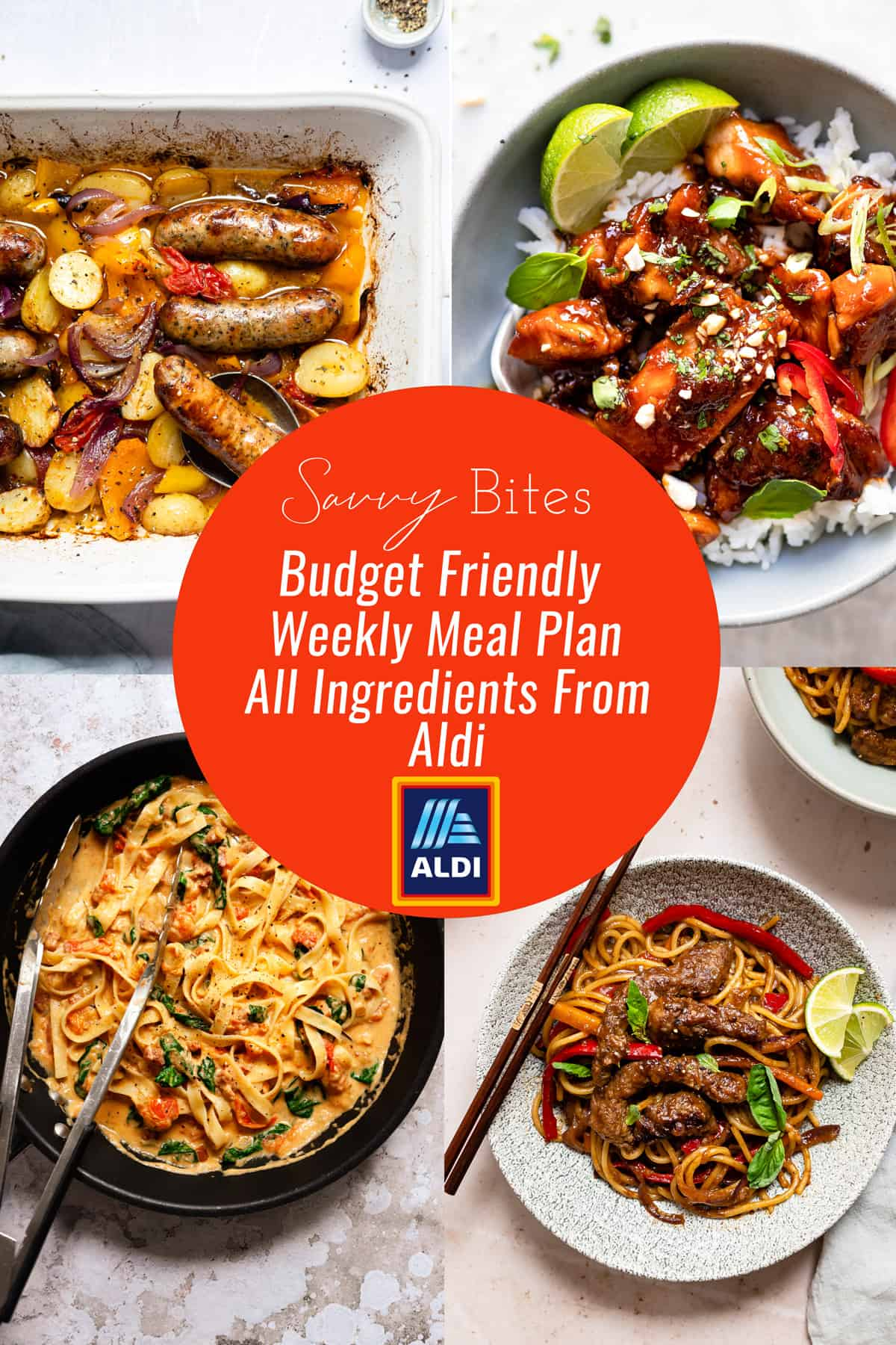 Aldi recipes meal plan with healthy recipes in a collage.