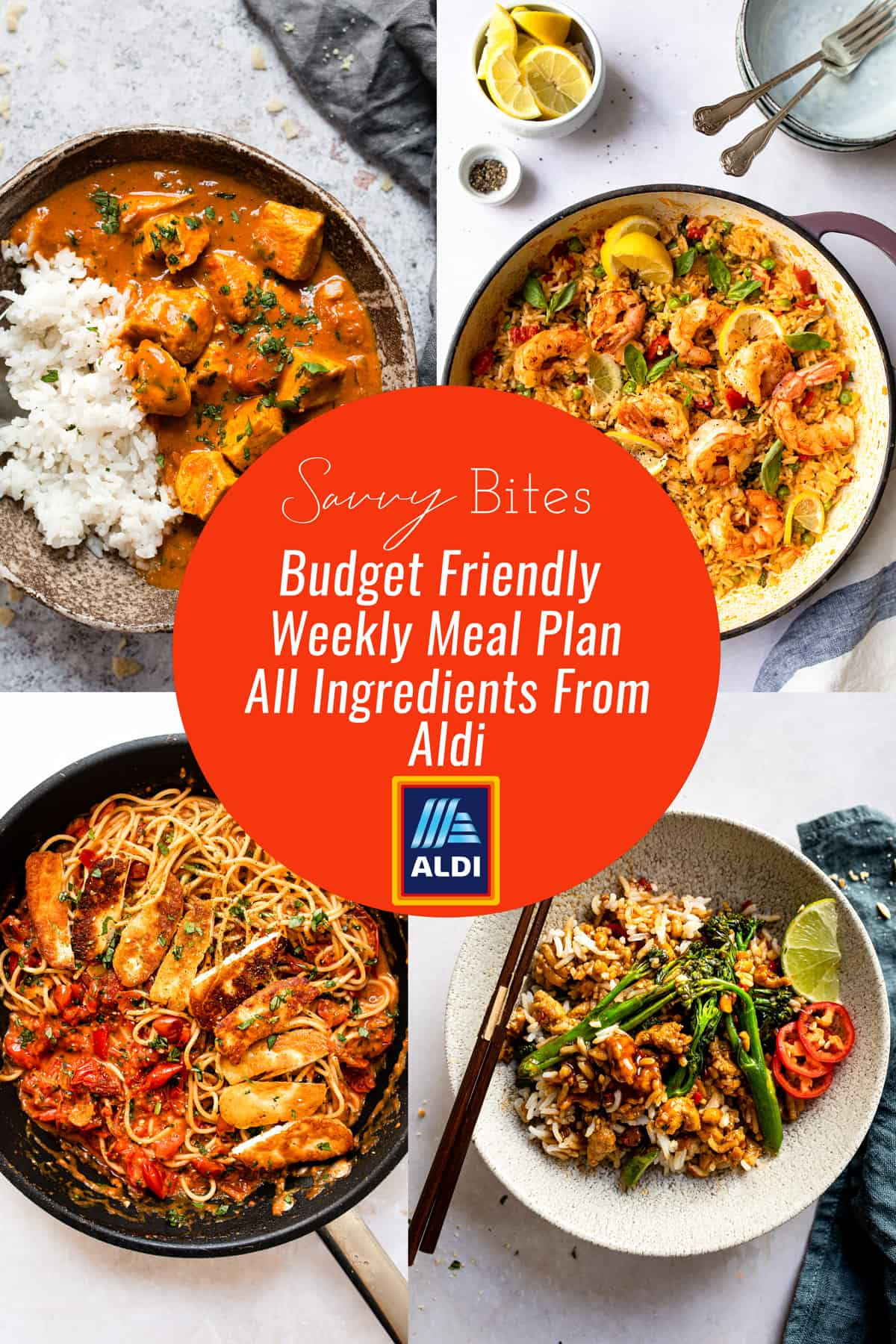 Aldi budget meal plan photo collage with text overlay.