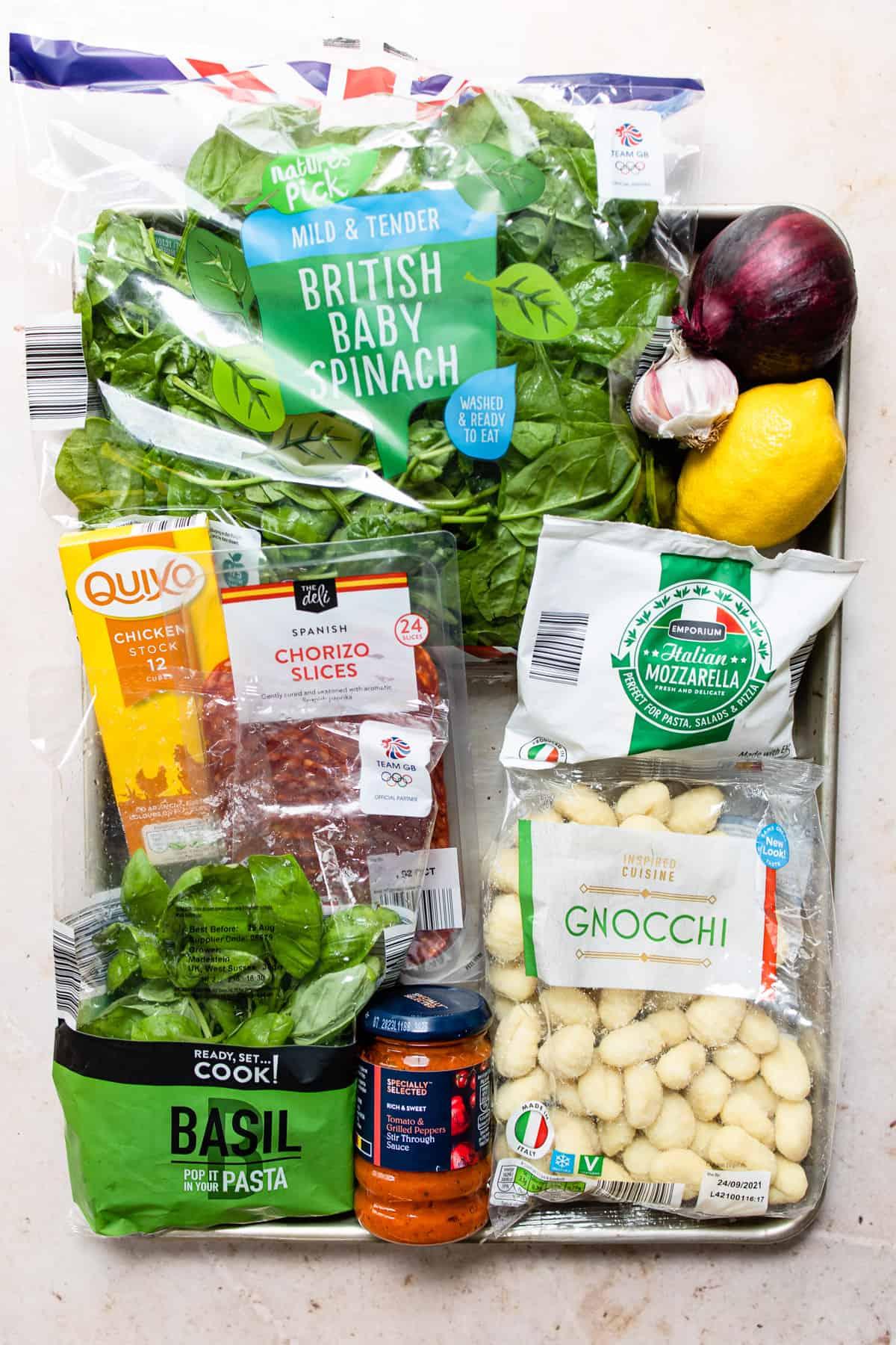 ingredients for chorizo gnocchi with mozzarella. Aldi gnocchi recipe
