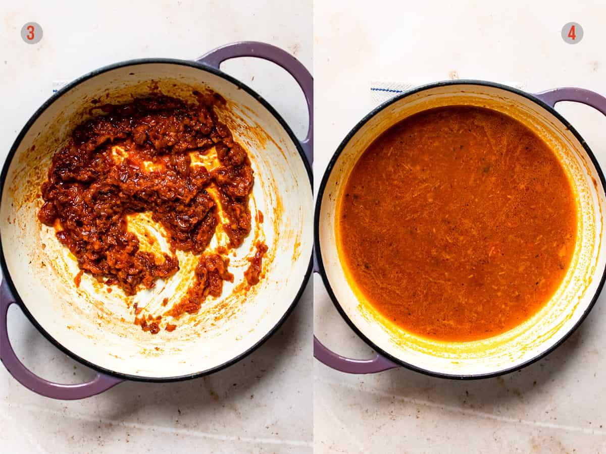 Making the sauce for chorizo gnocchi. Aldi recipes budget recipe
