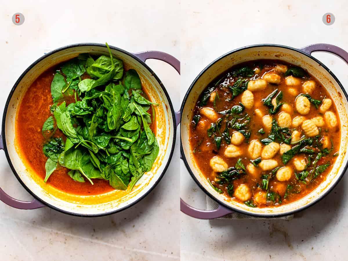 Gnocchi with spinach and tomato sauce. Aldi recipe