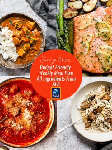 Aldi meal plan with recipes and a photo collage with text overlay.