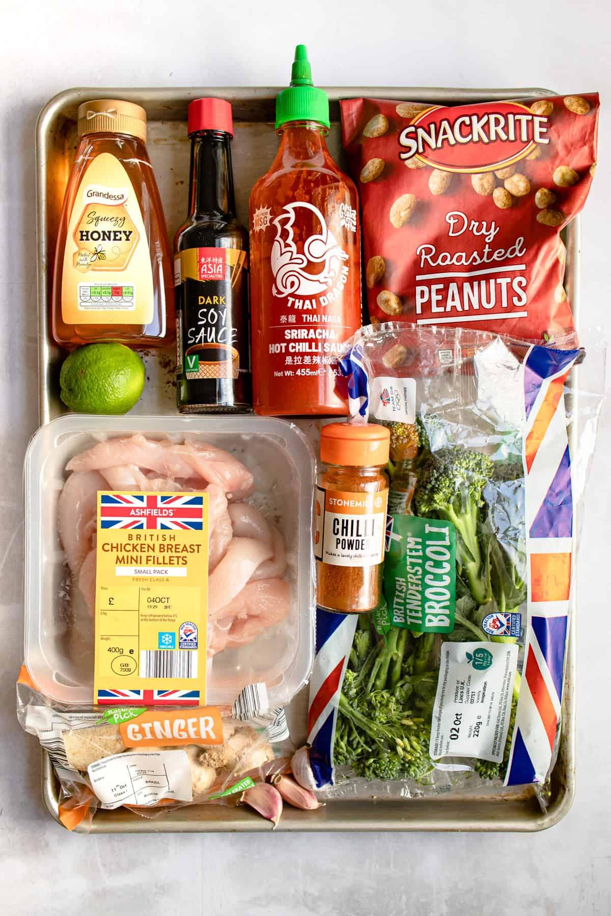 Aldi ingredients for Korean chicken on a tray.