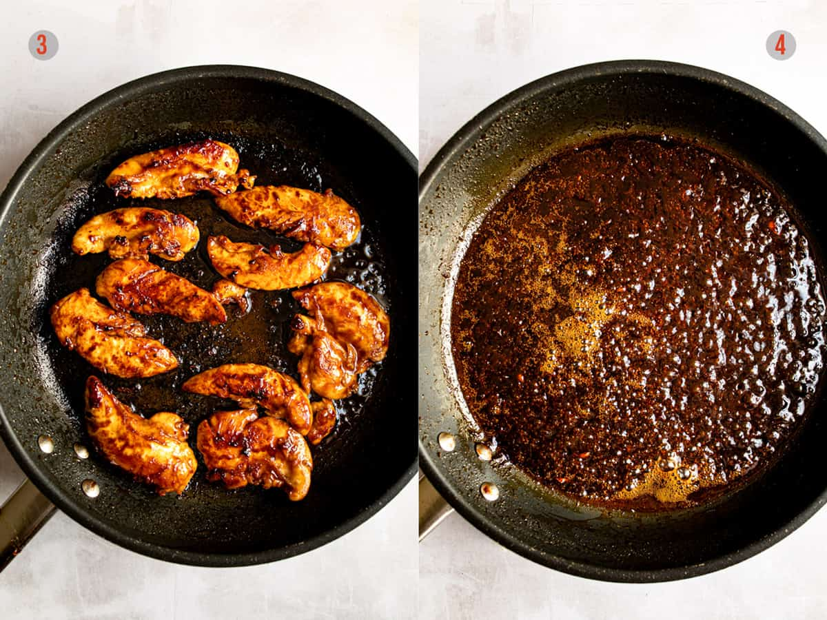 Pan searing the chicken and reducing the sauce for the dish.